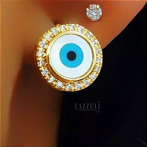Brinco Mini Olho Grego 1.0 cm diâmetro com Micro Zircônias Banhado em Ouro18k