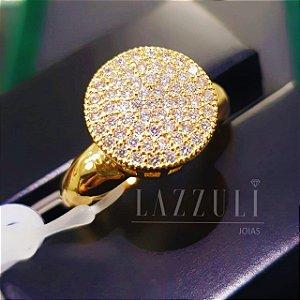 Anel Chuveirinho com Micro Zircônias Banhado em Ouro18k