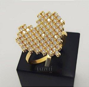Anel Big Coração com Micro Zircônias Banhado em Ouro18k