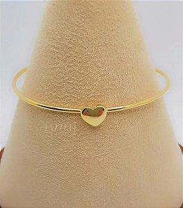 Bracelete Coração Liso Banhado em Ouro18k