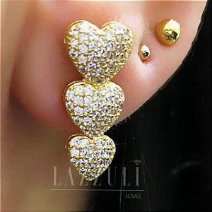 Brinco Ear hook Mini 3 Corações com Micro Zircônias Banhado em Ouro18k