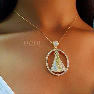 Colar Mandala Oval Nossa Senhora com Micro Zircônias Banhado em Ouro18k