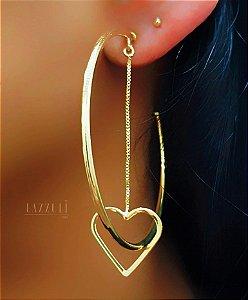 Brinco Argola Lisa com Coração Banhado em Ouro18k