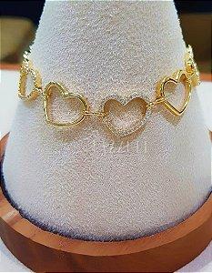 Pulseira Elos Corações Intercalados com Micro Zircônias Banhado em Ouro18k