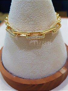 Pulseira Elos Cartier Intercalados com Micro Zircônias Banhado em Ouro18k