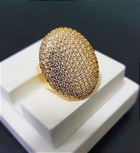 Anel Oval com Micro Zircônia Cristal Banhado em Ouro18k