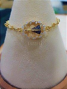 Pulseira Elos com Mandala Oval Nossa Senhora com Zircônia Azul Banhado em Ouro18k