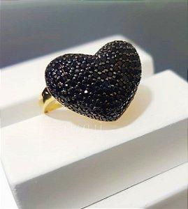 Anel Big Coração Abaulado com Micro Zircônias Negro Banhado em Ouro18k