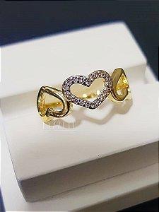 Anel 3 Corações com Micro Zircônias Banhado em Ouro18k