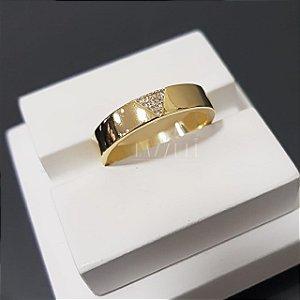 Anel V. Fino com Micro Zircônias Banhado em Ouro18k