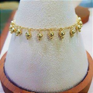 Pulseira Bolinhas Penduradas Lisas Banhado em ouro18k
