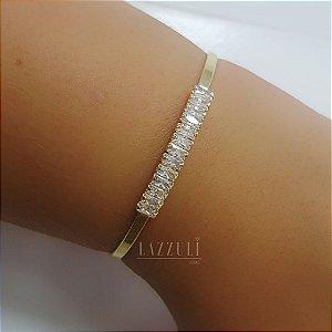 Bracelete Zircônias Baguettes Cristais Banhado em Ouro 18k