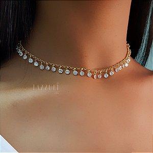 Choker com Várias Tiffany Zircônia Cristal Banhado em Ouro 18k