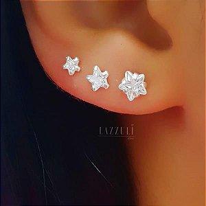 Brinco Trio Estrelas em Prata