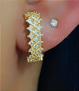 Brinco Ear Hook com 3 Fileiras de Micro Zircônias Banhado Ouro18k