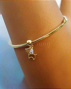 Bracelete Fechado com Pingente Dog Banhado em Ouro18k