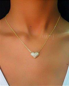 Colar Coração com Micro Zircônias Banhado em Ouro18k (SKU: 00051312)