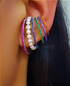 Brinco Ear Hook Encaixe Zircônia Colorida ( unidade) em Prata 925