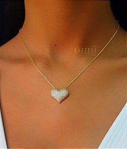 Colar Coração com Micro Zircônias Banhado em Ouro18k (SKU: 00051314)