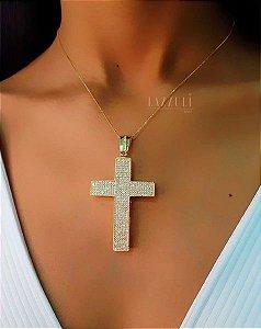 Colar Cruz Robusta com Micro Zircônias Cristais Banhado em Ouro18k