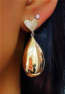Brinco Gota com Coração Micro Zircônias Banhado em Ouro18k