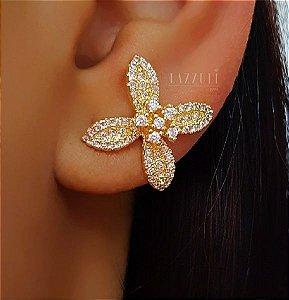 Brinco Flor Luxury com Micro Zircônias Cristais Banhado em Ouro18k