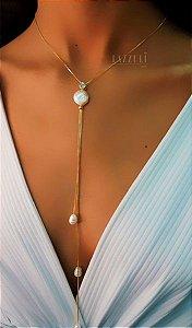 Colar Gravatinha Longa com Zircônia Cristal e Pérola Barroca Banhado em Ouro18k