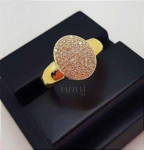Anel Chuveirinho Oval com Micro Zircônias Banhado em Ouro18k