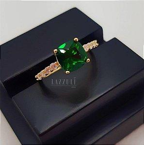 Anel Solitário Luxury Zircônia Esmeralda Banhado em Ouro 18k