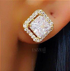 Brinco Quadrado Luxury Zircônia Cristal Banhado em ouro 18k