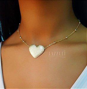 Choker Bolinha com Pingente Coração Fosco Banhado em Ouro18k