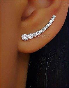 Brinco Ear Cuff com Zircônia Cristal em Prata