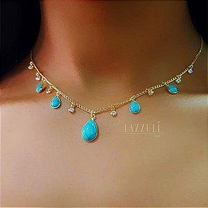Choker Gotas 5 Gotas e 8 Tiffany Azul Turquesa Banhado em Ouro18k