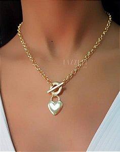 Colar Elo Português com Pingente Coração Banhado em Ouro18k (SKU: 00051382)