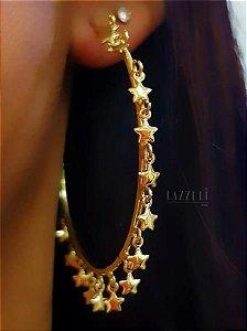 Brinco Argola Estrelas Lisas Banhado em Ouro18k