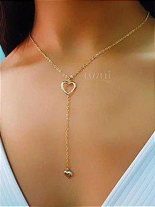 Colar Gravatinha Coração Banhado em Ouro18k (SKU: 00051410)