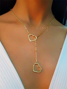 Colar Gravatinha Elos com 2 Corações Lisos Banhado em Ouro18k
