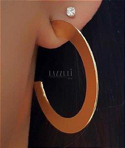 Brinco Argola Achatada Lisa 3.5 cm Banhado em Ouro18k