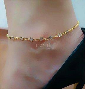 Tornozeleira com Várias Mini Tiffany Banhado em Ouro18k
