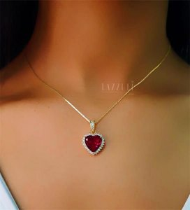 Colar Coração Luxury Rubi com Micro Zircônias Banhado em Ouro18k