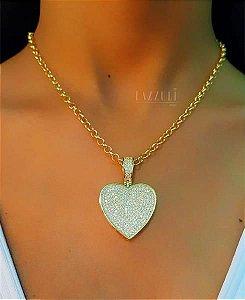 Colar Elo Português 45 cm com Pingente Coração 3 cm com Micro Zircônias Banhado em Ouro18k