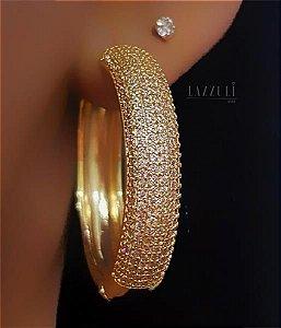 Brinco Argola Luxury 3.0 cm Banhado em Ouro18k