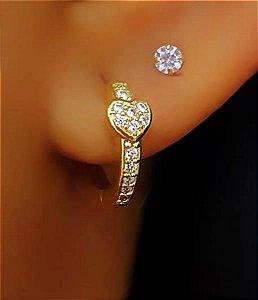 Brinco Mini Argola com Mini Coração Cravejado Zircônia Cristal Banhado em Ouro18k