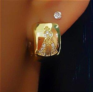 Brinco Argola Nossa Senhora Aparecida 1.5 cm Micro Zircônia Cristais Banhado em Ouro18k