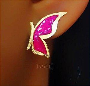 Brinco Borboleta Pequena Resina Pink Banhada em Ouro18k