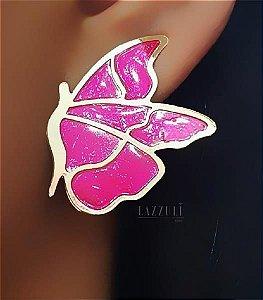Brinco Borboleta Resina Pink Banhado em Ouro18k (SKU: 00031235)
