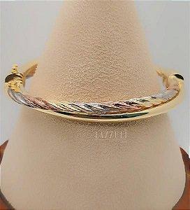 Bracelete Trançado com os 3 Banhos Rosê/ Ródio Branco e Ouro18k