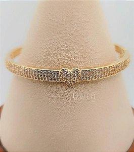 Bracelete Grosso com Coração Luxury Banhado em Ouro18k