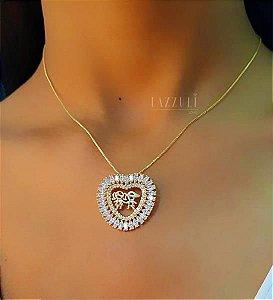 Colar Filhos Casal Mandala Coração Zircônia Baguettes Banhado em Ouro18k