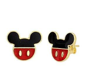 Brinco Resina Mickey 1.5 cm Banhado em Ouro18k